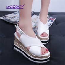 New Platform Wedges Sandals Peep Toe Gladiator Women Pumps Cross-tied High Heels Summer Shoes Woman Buckle Strap Party shoes стоимость