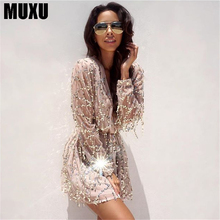 sexy v neck long sleeve gold glitter sequin fashionable jumpsuit white short patchwork transparent womens party fringe