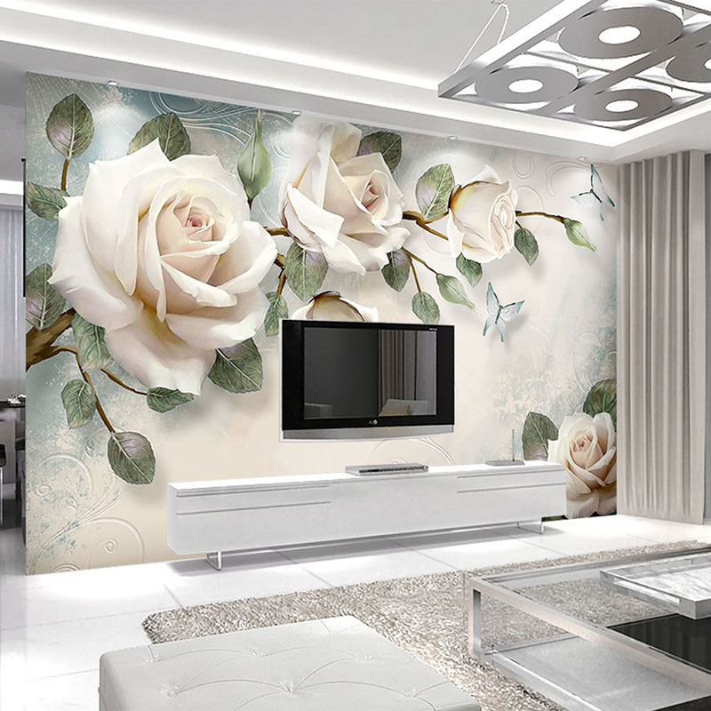 Custom Modern Hand Painted Oil Painting Floral European Style 3D Stereoscopic Embossed Rose TV Background Decor Wallpaper Flower custom floral wallpaper 3d stereoscopic