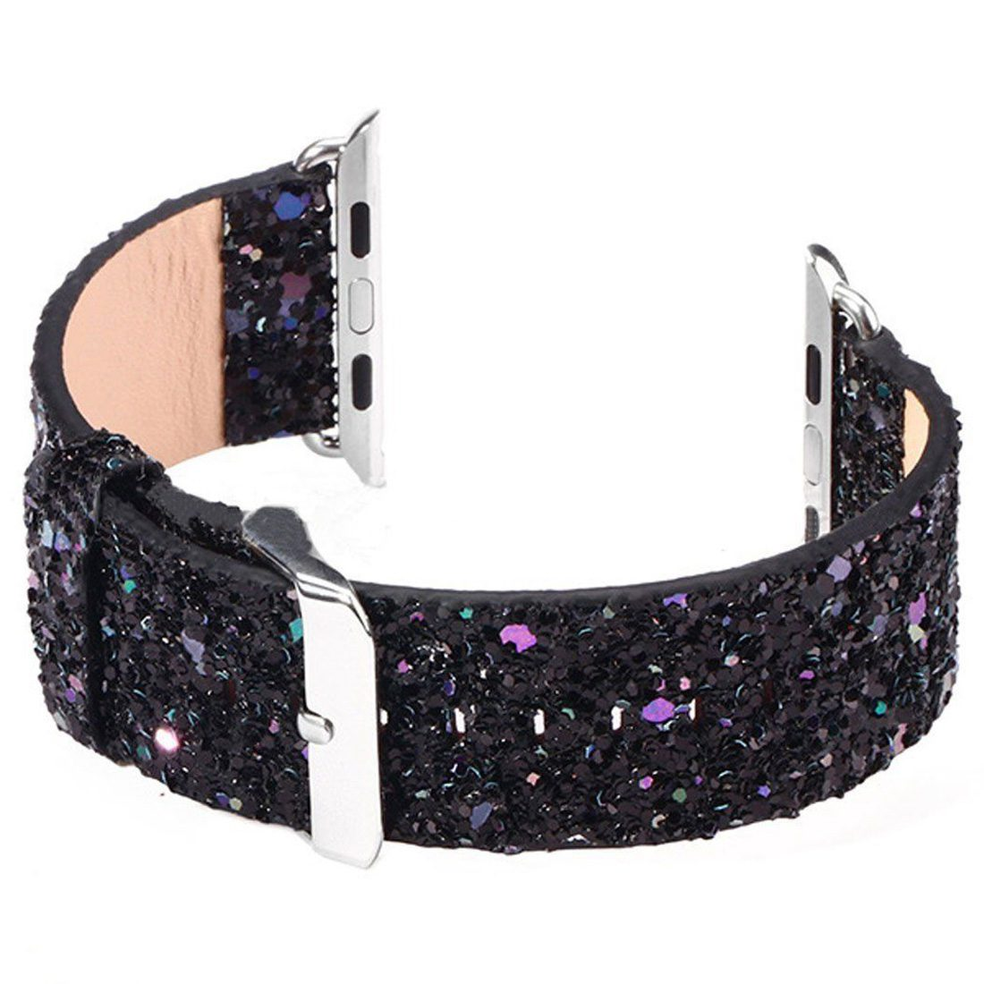 Bling Glitter Leather Watch Clasp Loop Band Strap for Apple Watch 38mm Black conkim mini car suction cup holder for car cam dvr windshield stents car gps navigation accessories