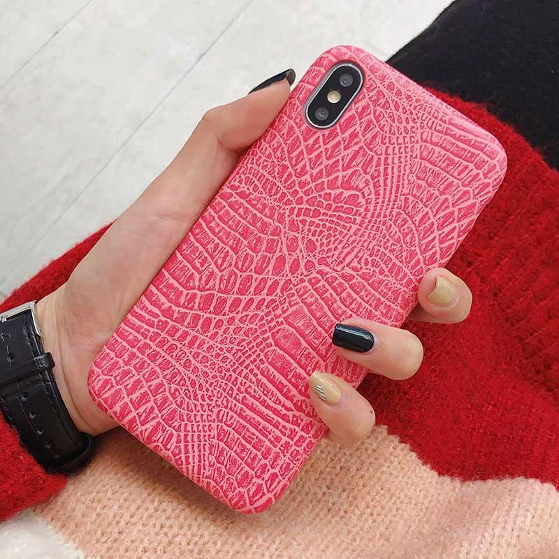 Boucho для iphone Xs MAX XR X XS чехол s крокодиловая текстура чехол для телефона для iphone 11 Pro max 7 8 6 6S Plus Роскошный чехол из искусственной кожи - Цвет: crocodile Pink