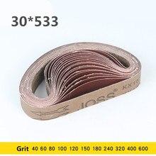 Bandas de lija de 30x533mm, pantalla de banda de 533x30mm con grano de 60 a 600, 5 uds.