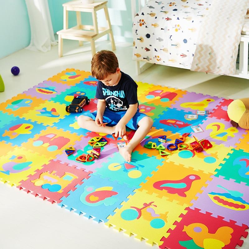 10Pcs/set EVA Foam Baby Play Mat Assembled Cartoon Animal Rug Carpet Indoor Soft Activity Puzzle Crawling Mats For Children Game