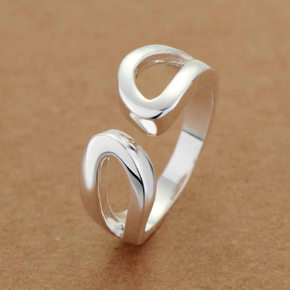 Thời trang đơn giản điều chỉnh Bán Buôn 925 trang sức bạc mạ lớn kích thước vòng, vòng đồ trang sức thời trang Ring cho Phụ Nữ,