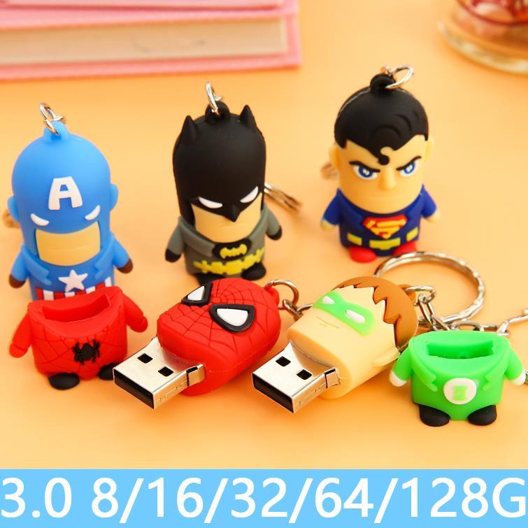 Hot 3.0 Cartoon Avengers Batman Spuerman Full Capacity 8GB 16GB 32GB 64GB 512 GB USB Flash Drive Memory Stick Pen Drive Gift 2TB