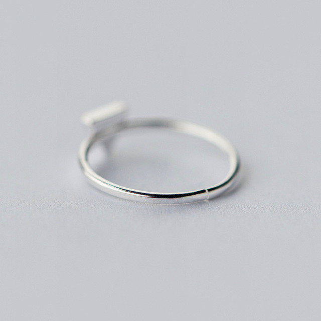 INZATT Real 925 Sterling Silver Geometric Black Enamel Triangle OL Adjustable Ring Minimalist Fine Jewelry For Women Party Gift 1