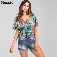 Messic Ladies Sexy Low V Neck Tops Boho Floral Print Shirts 2018 Summer Short Batwing Sleeve