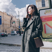 2018 Fashion Autumn Winter Women's Vintage Plaid Woolen Blended Coats Female Long Double Breasted Coat Bodycon Cocoon Coats S23
