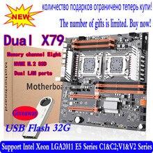 X79 двойной процессор Материнская плата LGA 2011 E-ATX USB3.0 SATA3 PCI-E 3,0 с двойной процессор Xeon материнская плата с M.2 слотом dual Giga LAN