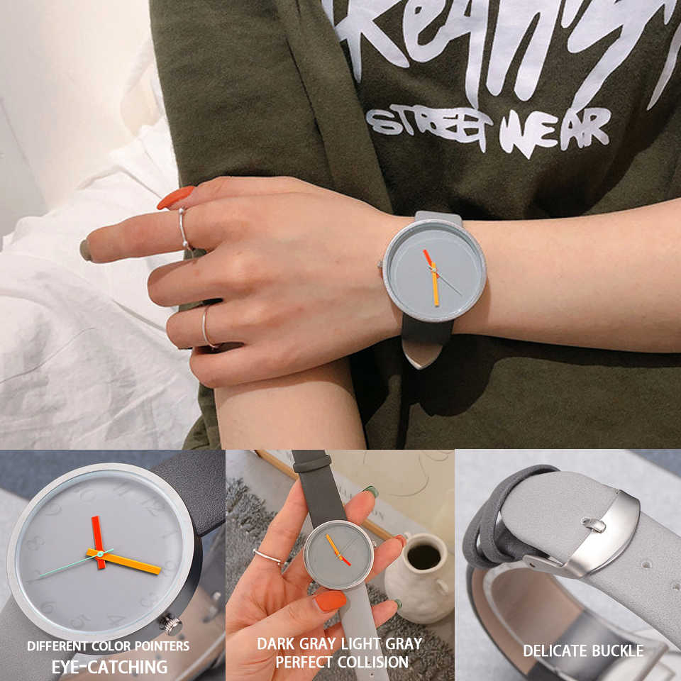 Femmes montre gris contraste cuir montre à Quartz femmes hommes montres amoureux unisexe décontracté dames montre-bracelet horloge Relogio Feminino