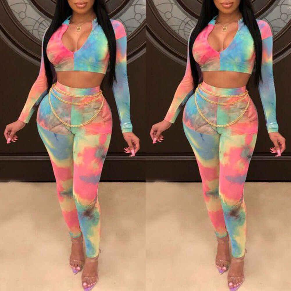 Women 2pcs Set Sport Suit Slim Crop Top Pants Jumpsuit  Women Outfits Yoga Fitness Gym Workout Bodycon Bodysuits New