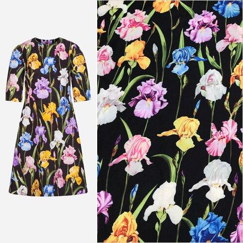 Floral Iris Imprimer Noir Polyester Brocade Jacquard Tissu pour L'automne Hiver A-ligne Robe Jupe Manteau Veste Pantalon Sewing-AF649