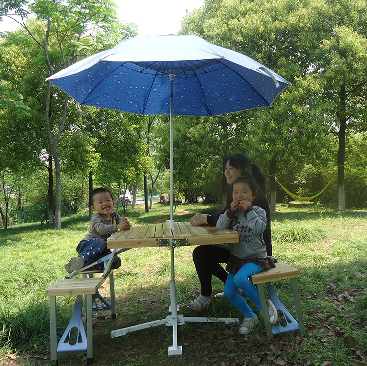 Solid wood Folding Portable Outdoor Table Camping Table Picnic Desk Dining Tables with 2.4m umbrella multipurpose foldable outdoor attached table beach tables advertising exhibition table picnic desk