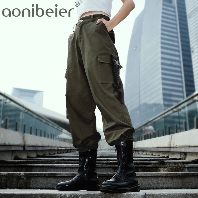 Aonibeier Streetwear Cargo   Pants   Women Casual Joggers Black High Waist Loose Female Trousers Korean Style Ladies   Pant     Capri