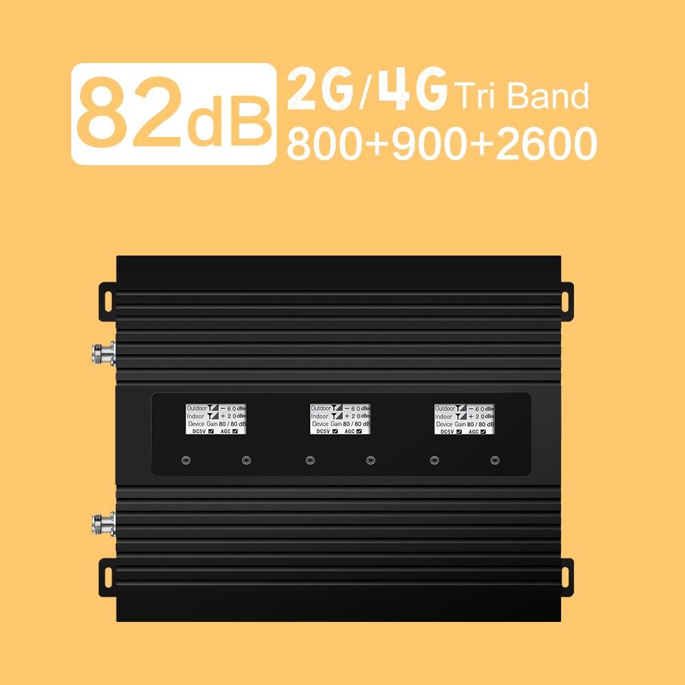 82dB Gain Tri bande amplificateur de Signal cellulaire GSM 900 LTE LCD affichage 4G Booster 4G LTE 800 2600 B7 B3 répéteur de Signal Mobile