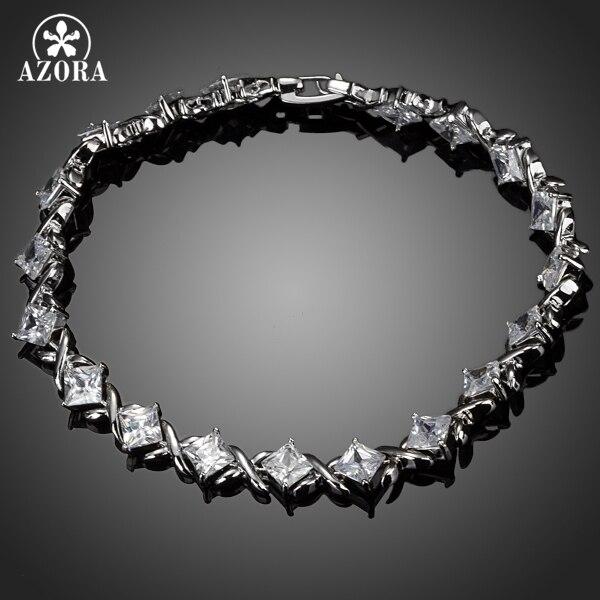 AZORA Elegant 19pcs Clear Square Cubic Zirconia Bracelet TS0068