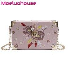 купить Moeluohouse Embroidery Floral Flower Flap bag Women Shoulder Messenger Crossbody Box Chain Hasp Korean Style PU Cute Gift по цене 3067.68 рублей