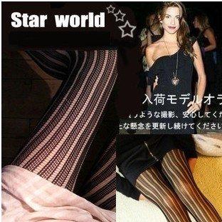 Big Discount Free shipping Female stripe Lace pantyhose tights leggings stocking socks punk style 20pcs/lot lowest price