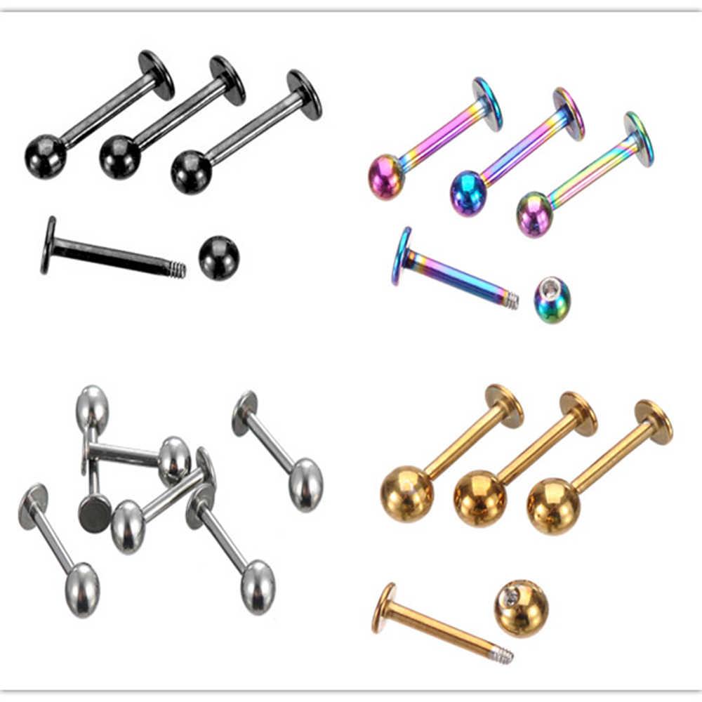 1 PC men women ear bone piercings lip pircings labret stainless steel silver gold black pink blue body jewelry