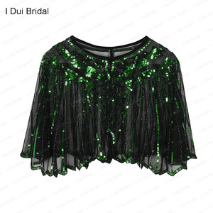 Image 5 - Womens 1920s Shawl Beaded Sequin Deco Wedding Cape Evening Wrap Flapper Cover Up Cocktail Dress Scarf Special Event Cape