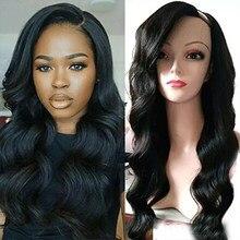 SimBeautyGlueless волнистые u-образные парики, 100% человеческие волосы, 100% Необработанные бразильские u-образные человеческие волосы, левая часть пар...