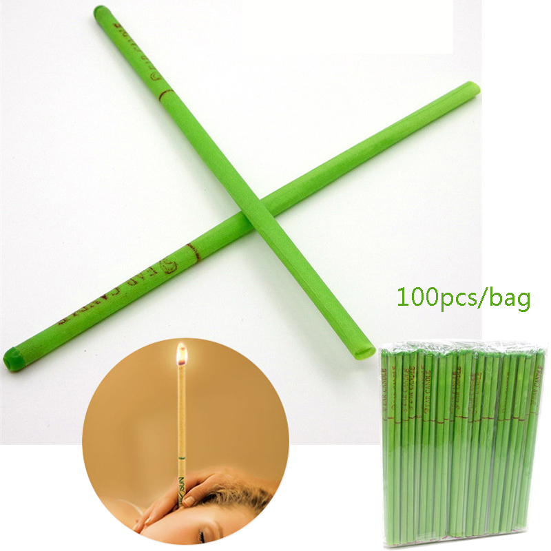 100PCS Green Tea Tree Indian Ear Candle Ear Wax Cleaner