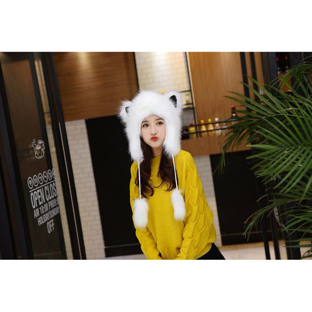 Super Cute Women Winter Hat With Earflap Faux Fur Cartoon Fox Animal Hat Thicken Warm Bomber Hat Outdoor Ear Protection Snow Hat