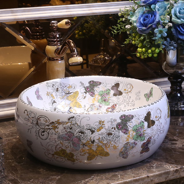 Butterfly Pattern Handmade Europe Style Counter Top Porcelain Wash Basin  Bathroom Sinks Ceramic Vessel Bowl Sink