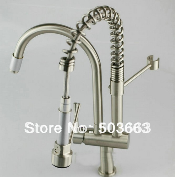 Wash Basin Sink Deck Mount Nickel Brushed Double Water Spout Pull Out Kitchen Sink Mixer Tap