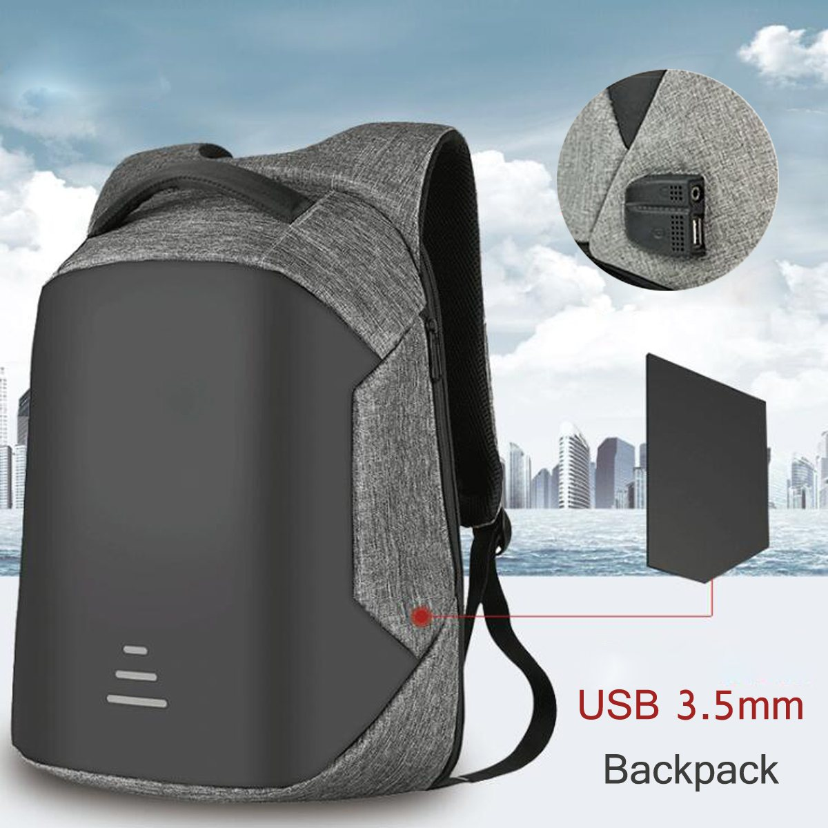 Unisex Anti-Thief Waterproof Laptop Backpack with External USB Charge 3.5mm Port Laptop Outdoor Men Women Back pack Bag