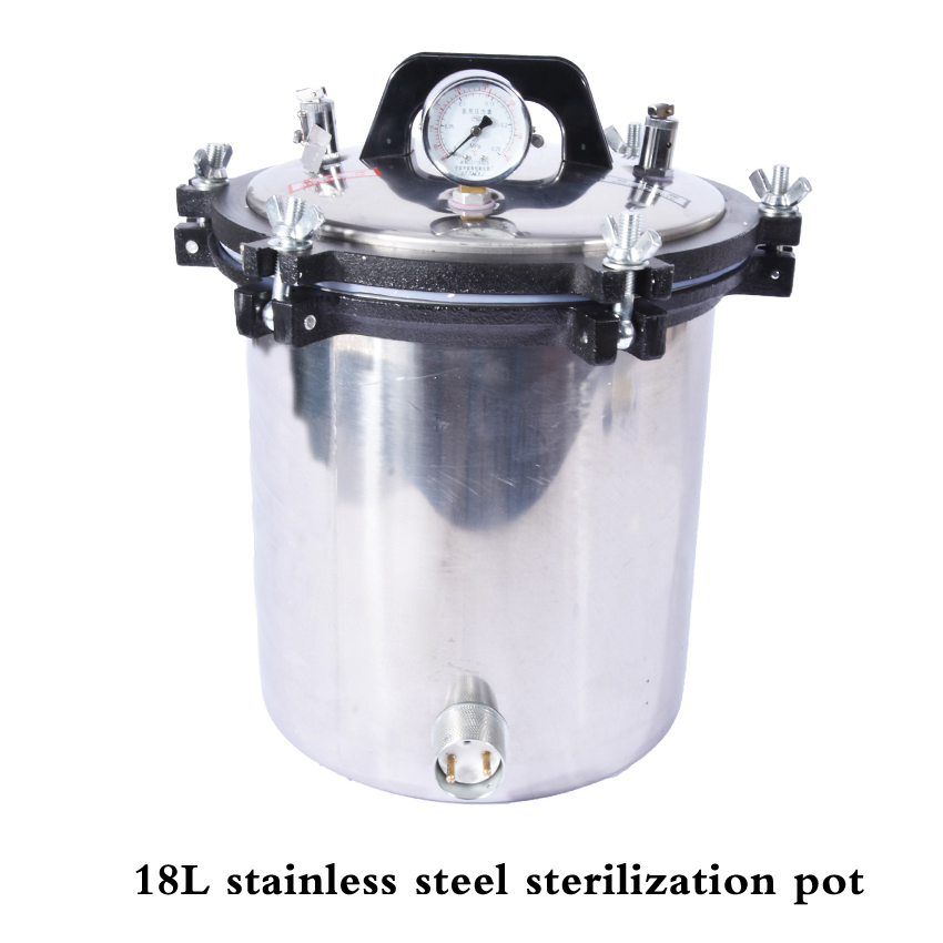 YX 18LDJ 18L Portable stainless steel sterilization pot, Pressure steam sterilizer autoclave pot surgical medical With anti dry