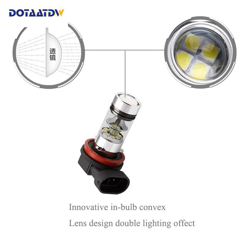 DOTAATDW 2pcs H11 H8 LED Fog Light Bulbs 9005 HB3 HB4 9006 Car Daytime Running Lights Auto DRL Driving Lamp 12V 24V 6000K White in Car Light Assembly from Automobiles Motorcycles