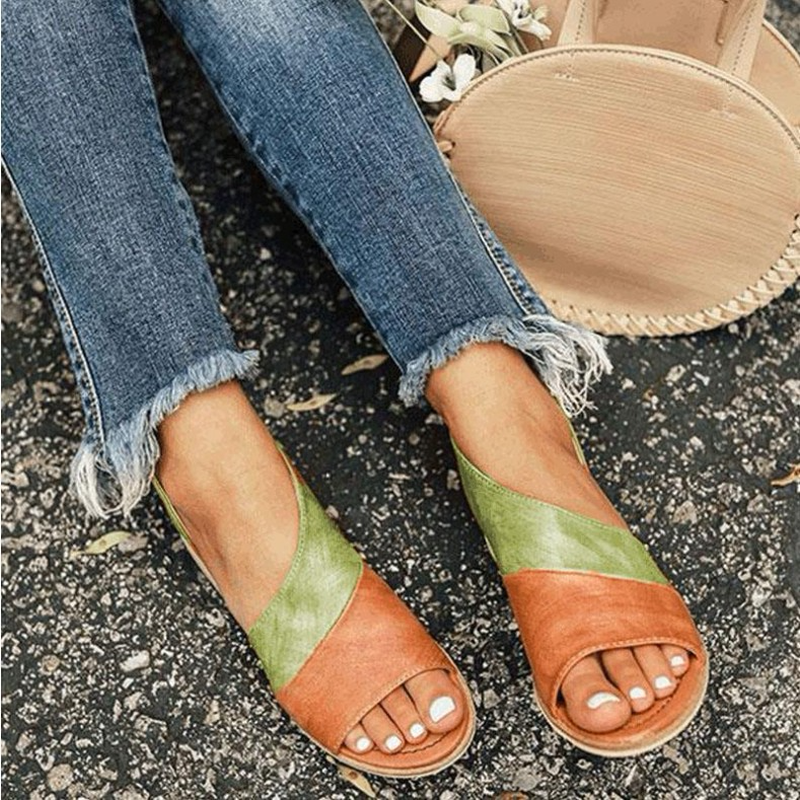 Women Sandals Summer Shoes Peep-Toe Low-Heels for Causal Mujer Plus-Size 35-43