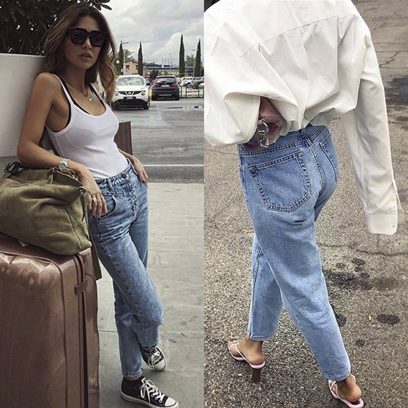 High Waist Women Straight   Jeans   Capri Pencil Pants Classic Denim Trousers Female Streetwear Girlfriend Boyfriend Teenage Girl xs