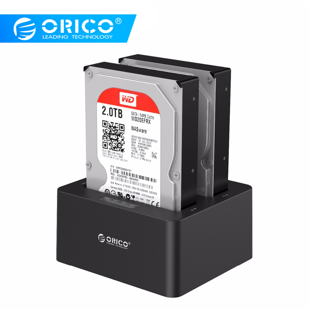 ORICO Dual Bay SATA to USB 3.0 External Hard Drive Docking Station for 2.5/3.5HDD with Duplicator/Clone Function-BlackORICO Dual Bay SATA to USB 3.0 External Hard Drive Docking Station for 2.5/3.5HDD with Duplicator/Clone Function-Black