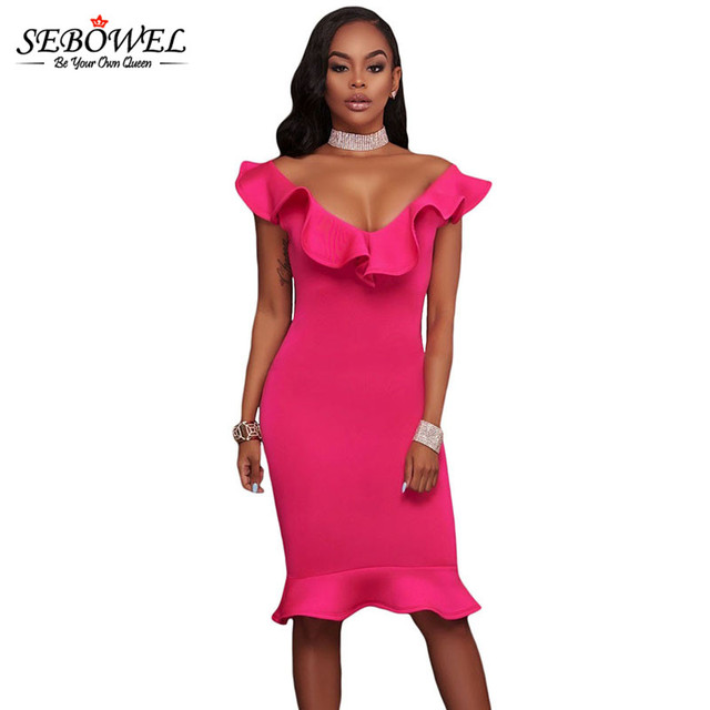 SEBOWEL 2018 Summer Sexy Bodycon Mermaid Party Dress Women Elegant Pink  Ruffle Midi Club Dress Plus e9c5375b7a77