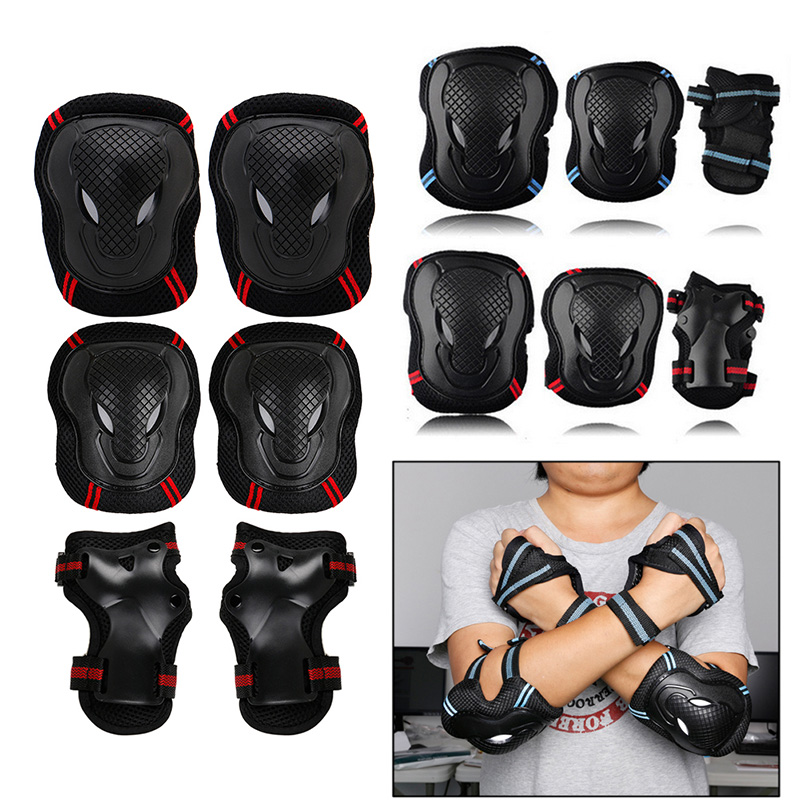 6pcs Skating Protective Gear Sets Elbow Knee Pads Bike Skateboard For Adult Kid destroyer pro elbow xl purple skateboard pads