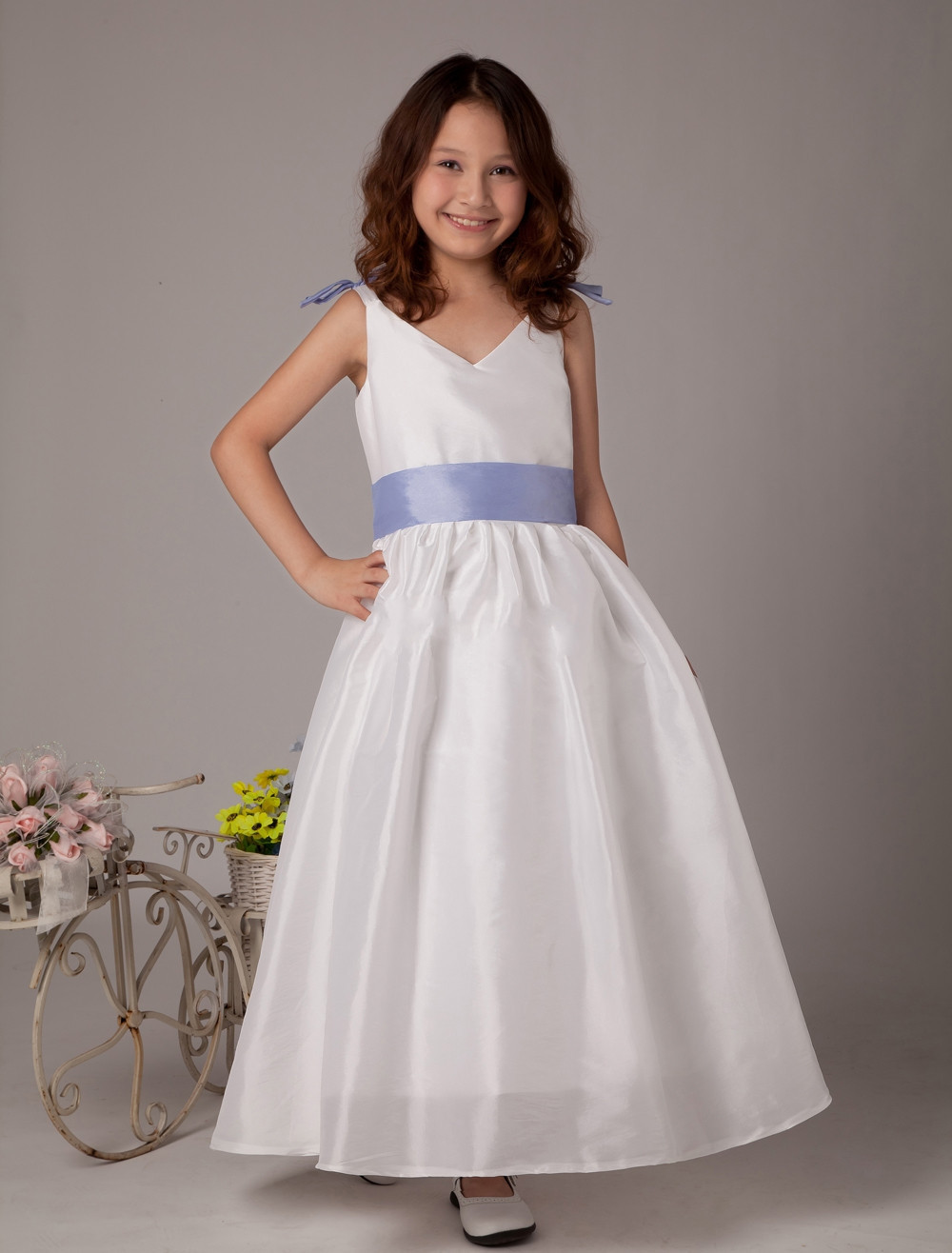 A-Line First Communion Dresses for Girls Sleeveless Flower Girl Gresses for Weddings Ankle-Length Mother Daughter Dresses a line knee length taffeta sleeveless flower girl dress for weddings jewel neck princess girls satin mother daughter dresses