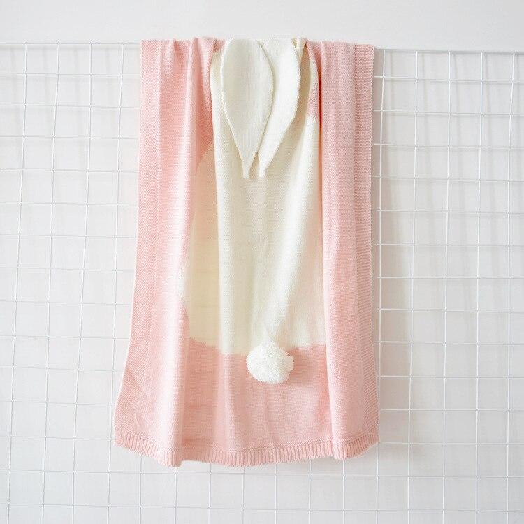 Кондиционер одеяло кролик лиса вязаный ребенок мультфильм животных одеяло диван коляска Чехлы для детей новорожденных постельные принадлежности пеленать decke - Цвет: pink rabbit
