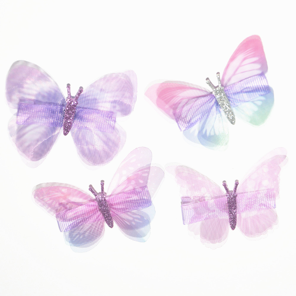 10Pcs/Lot Girls Hair Accessories Beautiful Butterfly Hairpins Chiffon Hairpins Kids Barrette Flower Clip Bow Hairclip 15 Colors