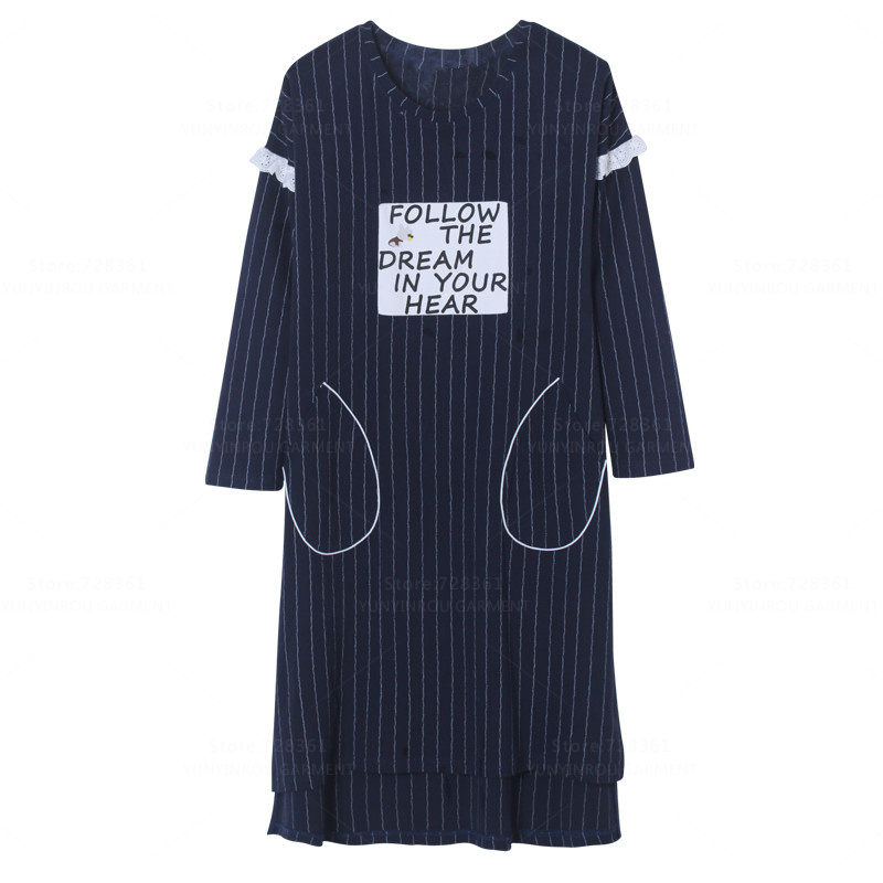 Brand New 100% Cotton Striped   Nightgown   Women Nightdress Mujer Sleepwear Loose Big   Nightgowns     Sleepshirts   Dress Lounge Clothing