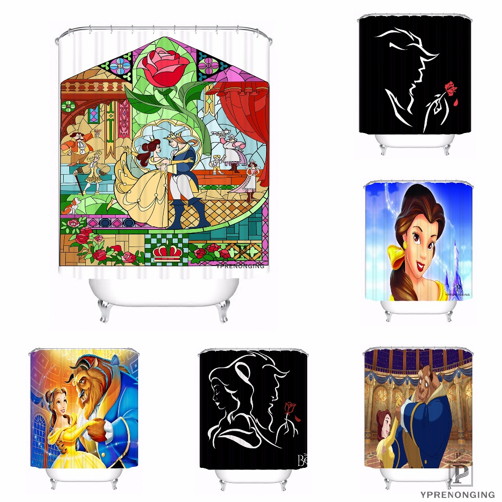 Custom Beauty And The Beast Waterproof Shower Curtain Home Bath Bathroom s Hooks Polyester Fabric Multi Sizes#180421-Sina-01