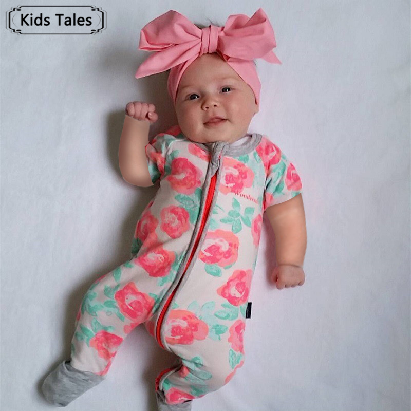 2018 New Baby Rompers Newborn Infant Baby Boy Girl Summer Clothes Floral Printed Rompers Jumpsuit Cute Infant Clothes SR343