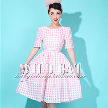 FREE SHIPPING 2014 Limited edition vintage sweet pin up powder plaid expansion bottom one-piece dress цена 2017