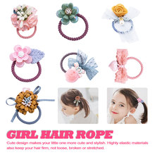 Sweet Girl candy color girl woman hair accessories flower elastic rubber band tie ring Carton hurt rope head wear