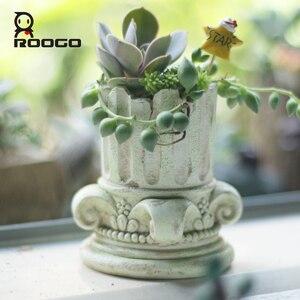 Image 4 - Roogo עציץ אירופה עציץ בציר בונסאי גן עסיסי עיצוב בית חיצוני עציץ עבור מרפסת קישוטים