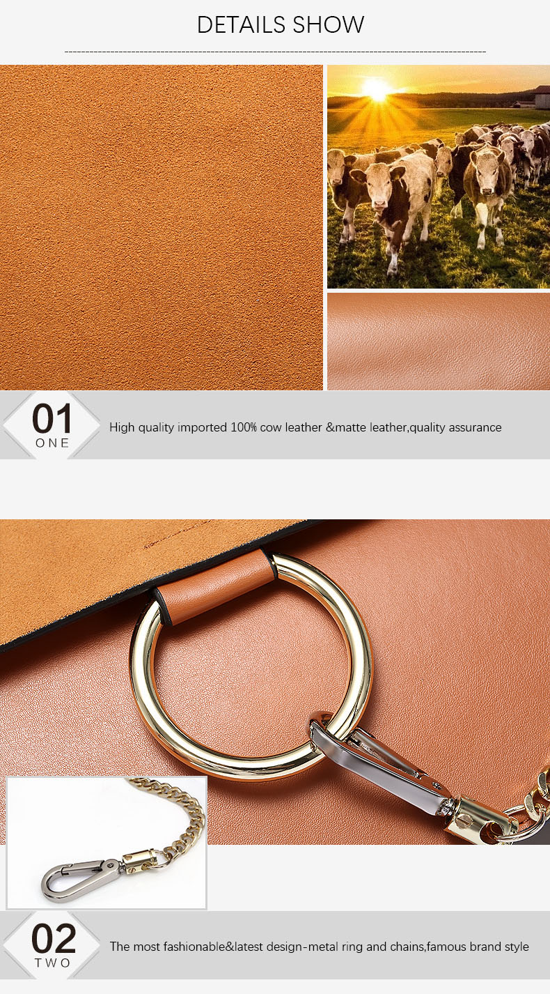 100% Genuine Leather Women Shoulder Bags Famous Brand Metal Ring Chains Women Crossbody Bags Retro Natural Leather Lady Handbag (4)