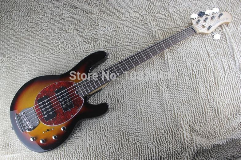 hot wholesale top quality sunburst music man stingray 5 strings electric bass with 9v battery. Black Bedroom Furniture Sets. Home Design Ideas