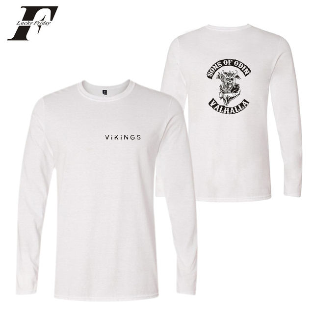 a64a8f348d US $9.9 40% OFF|LUCKYFRIDAYF 2018 SONS OF ODIN VALHALLA summer cotton long  sleeve funny T shirts Men women Black T Shirts Vikings Hip Hop -in T-Shirts  ...