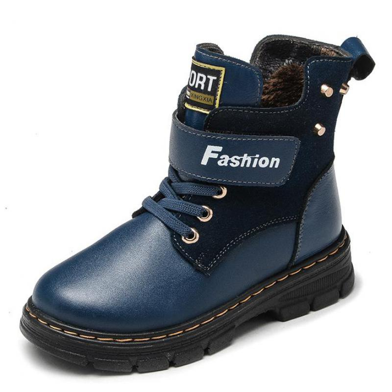 Genuine Leather Boys Shoes Ankle Boots Winter Warm Thick Plush Children's Snow Boots Top High Hook&Loop Rome Kids Baby Footwear